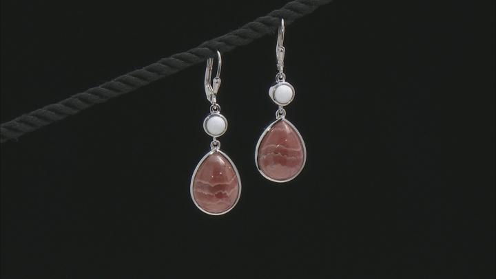 Orange Rhodocrosite Rhodium Over Sterling Silver Dangle Earrings 16x12mm