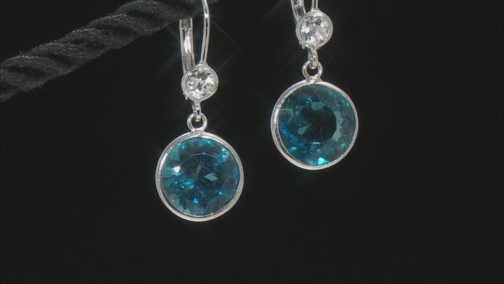 London Blue Topaz Rhodium Over Sterling Silver Earrings 9.50ctw