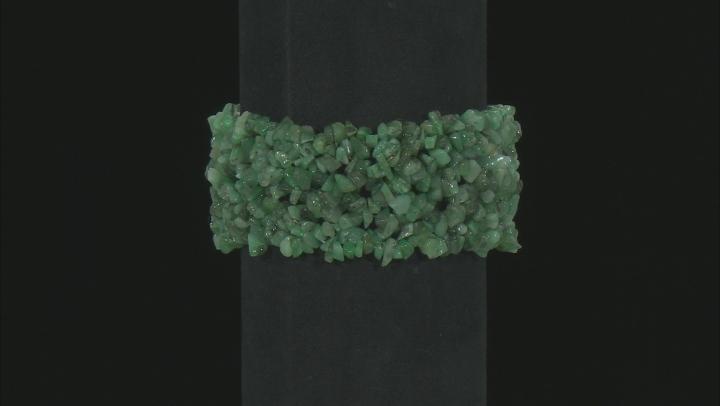 Green Emerald Chips Stretch Bracelet 140.00ctw