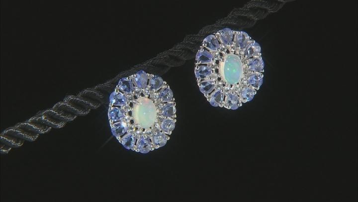 Ethiopian Opal Rhodium Over Sterling Silver Earrings