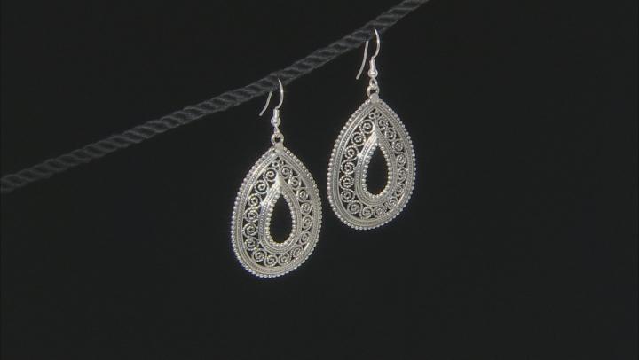 Sterling Silver Teardrop Open Design Artisan Earrings.