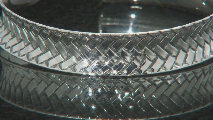 Sterling Silver Weave Design Cuff Bracelet 7 Inch