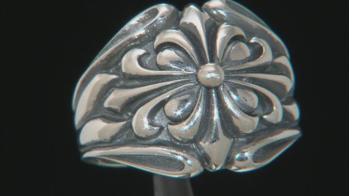 Sterling Silver Fleur De Lis Dome Ring