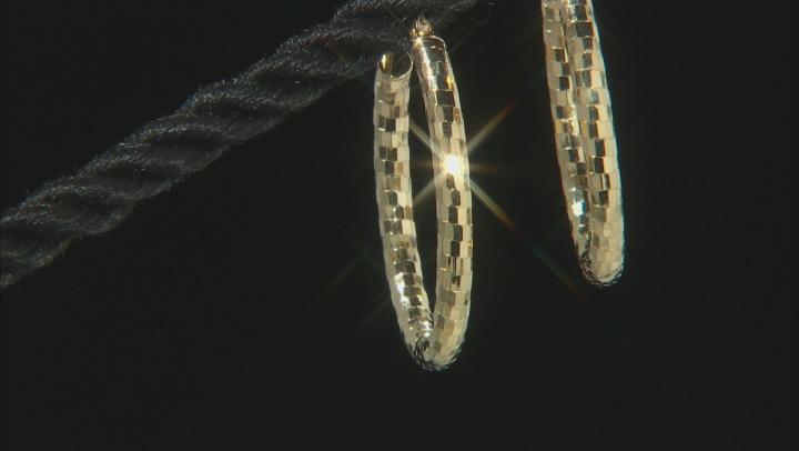 14K Yellow Gold Disco Ball Design Oval Hoop Earrings