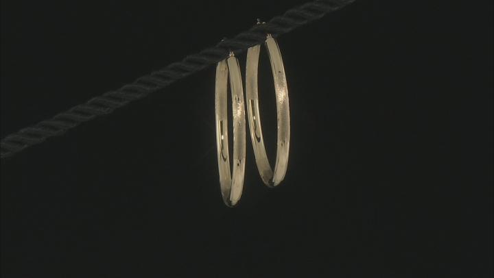 14K Yellow Gold Small Leaf Detail Hoop Earrings