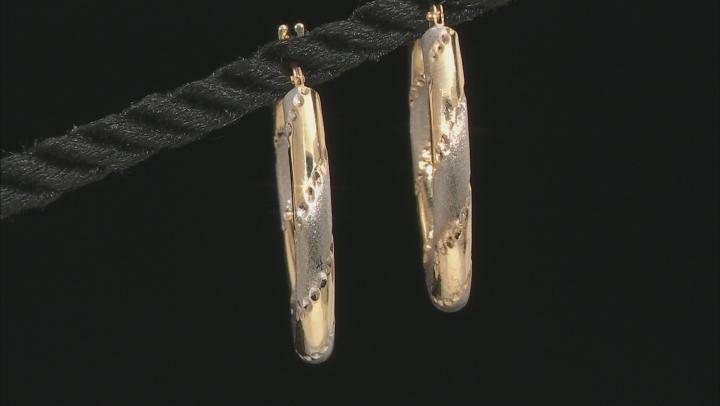 14K Yellow Gold Two-Tone Hoop Earrings