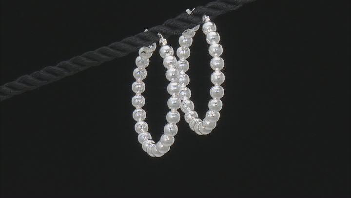 Sterling Silver 35MM Beaded Hoop Earrings