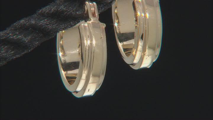14K Yellow Gold 9.7MM Raised Center Small Tube Hoop Earrings