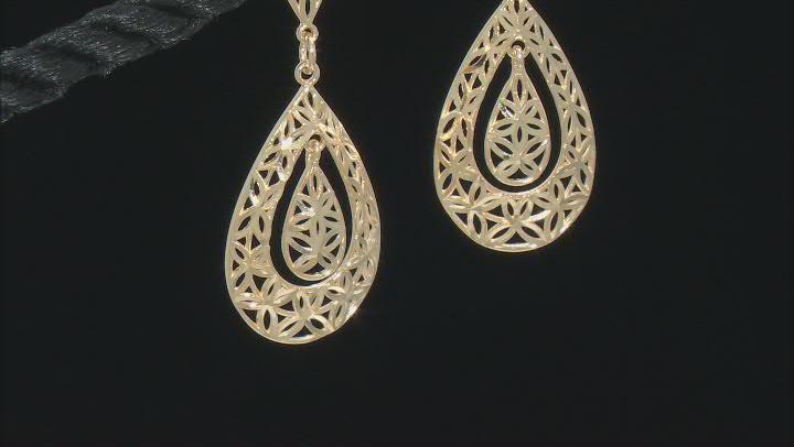 14K Yellow Gold Diamond-Cut Double Dangle Teardrop Earrings