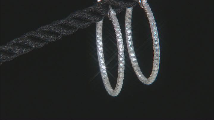 Sterling Silver Diamond-Cut 1.5x20 Tube Hoop Earrings
