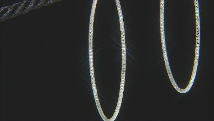 Sterling Silver Diamond-Cut 1.5x50 Tube Hoop Earrings