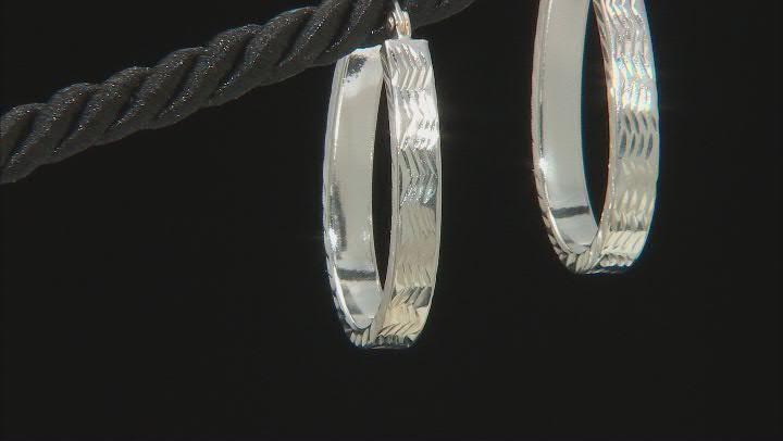 Sterling Silver 4x30MM Oval Square Tube Hoop Earrings