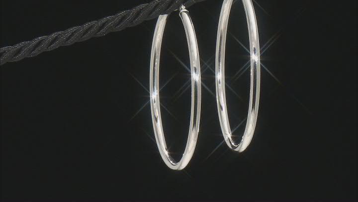 Sterling Silver 3x56MM Round Tube Hoop Earrings