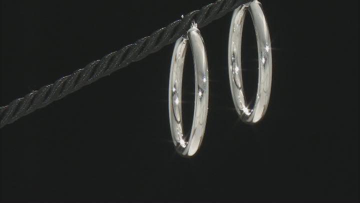 Sterling Silver 4x40MM Tube Hoop Earrings