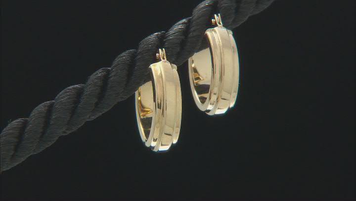 14K Yellow Gold 4x13MM Raised Center Small Tube Hoop Earrings
