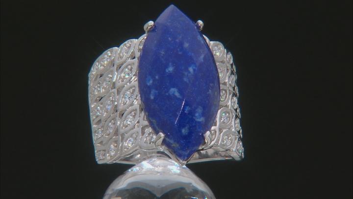 blue lapis lazuli rhodium over silver ring .44ctw