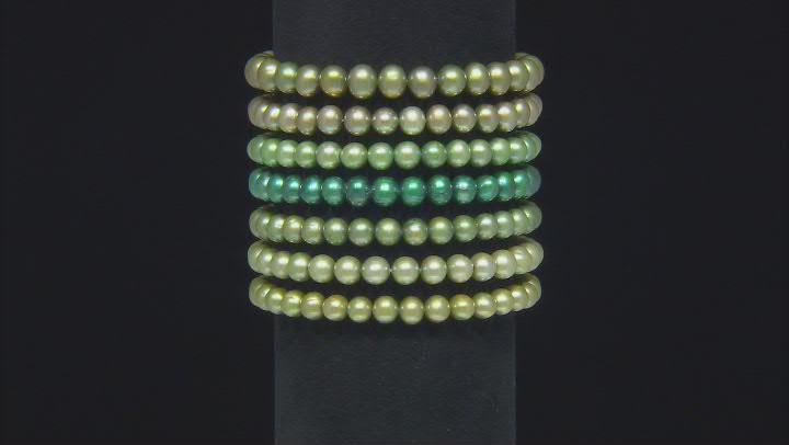 Multi-Green Cultured Freshwater Pearl Stretch Bracelet Set of 7
