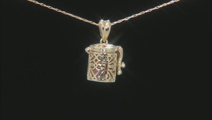 Multi-Color Sapphire 10k Yellow Gold Prayer Box Pendant With Chain 1.27ctw