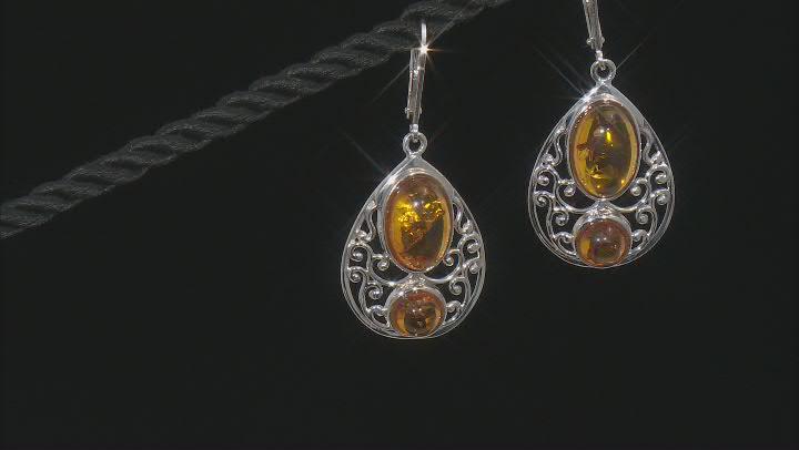 Orange Amber Rhodium Over Sterling Silver Dangle Earring 12x8mm