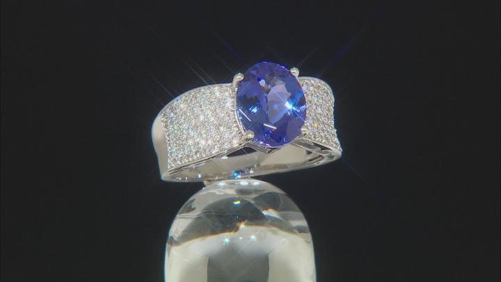 Blue Tanzanite Rhodium Over 14k White Gold Ring 3.65ctw