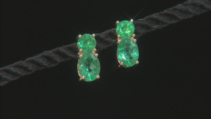 Green Apatite 10k Yellow Gold Earrings 3.31ctw