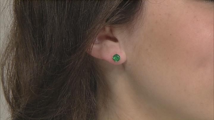 Green Apatite Rhodium Over 10k White Gold Earrings 1.54ctw