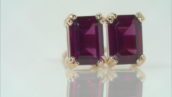 Grape Color Garnet Solitaire 10k Yellow Gold Stud Earrings 2.04ctw