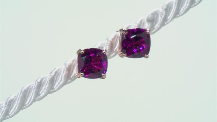 Grape Color Garnet 10k Rose Gold Earrings 1.87ctw