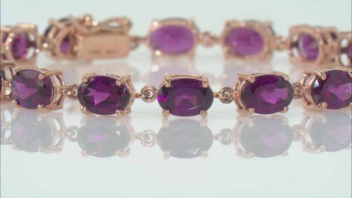 Grape Color Garnet 10k Rose Gold Bracelet 14.15ctw