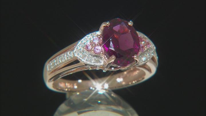 Grape Color Garnet 10k Rose Gold Ring 2.07ctw