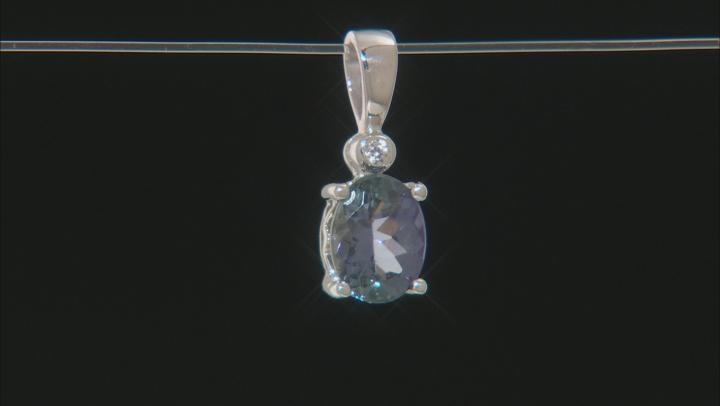 Blue Tanzanite Rhodium Over Sterling Silver Pendant 1.03ctw