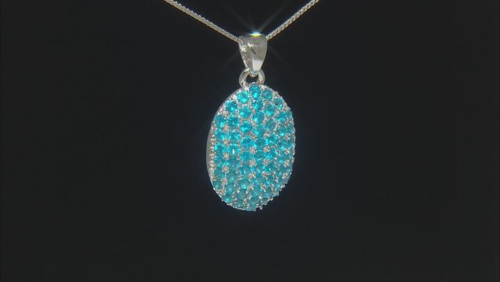 Blue Neon Apatite Rhodium Over Silver Pendant W/ Chain 2.28ctw