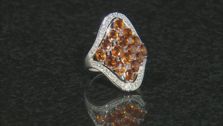 Orange Mandarin Garnet Rhodium Over Silver Ring 3.04ctw