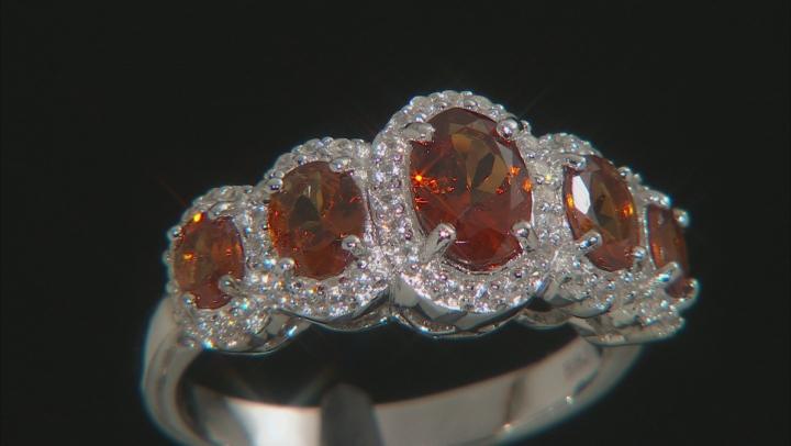 Orange Mandarin Garnet Rhodium Over Silver Ring