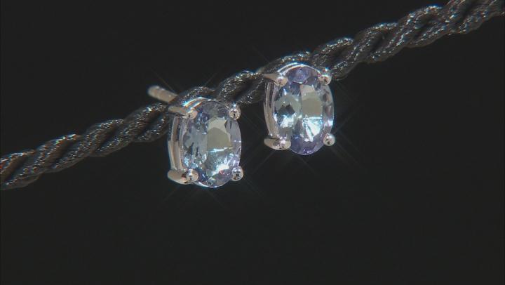 Teal Tanzanite Rhodium Over Silver Stud Earrings 1.35ctw
