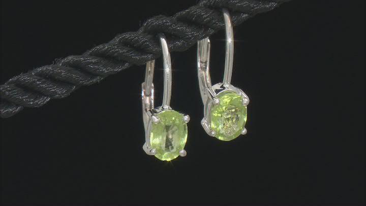 Green Peridot Rhodium Over Silver Earrings 1.73ctw