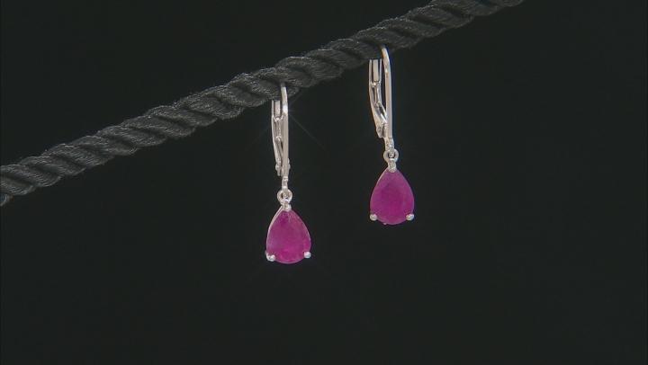 Red Kenya Ruby Rhodium Over Silver Earrings. 2.72CTW