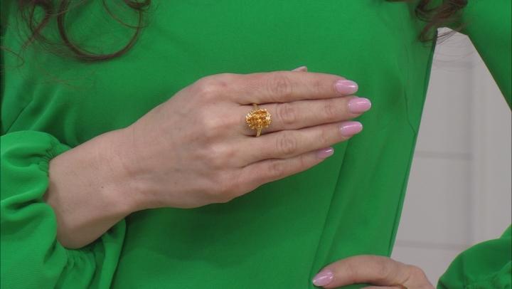 Orange Mandarin Garnet 18K Yellow Gold Over Silver Ring. 1.73CTW