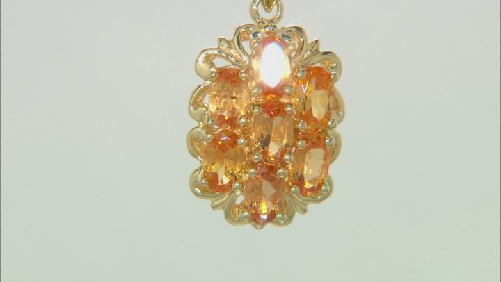 Orange Mandarin Garnet 18K Yellow Gold Over Silver Pendant With Chain. 1.73CTW