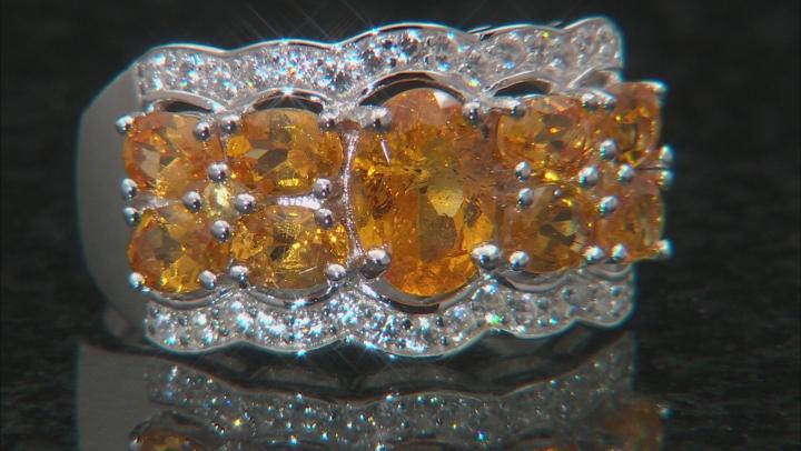 Mandarin Garnet And White Zircon Rhodium Over Silver Ring. 2.97CTW