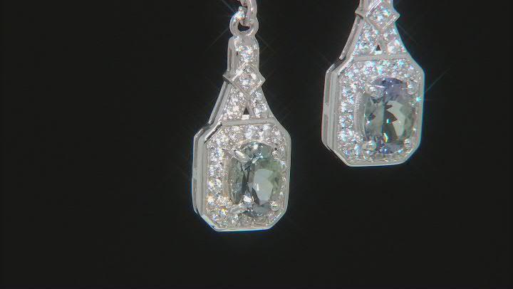 Ocean Tanzanite & White Zircon Rhodium Over Silver Earrings 1.86ctw