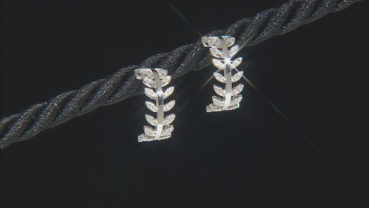 White Diamond Rhodium Over Sterling Silver J-Hoop Earrings 0.15ctw