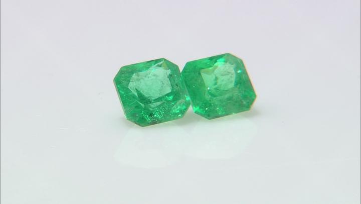 Emerald Ethiopian Matched Pair 1.62ctw 5.5mm Square Octagonal Princess Cut