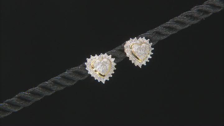 White Diamond 14K Yellow Gold Over Sterling Silver Heart Cluster Earrings 0.50ctw