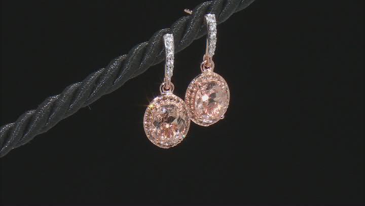 Pink Morganite 10K rose gold dangle earrings 3.18ctw