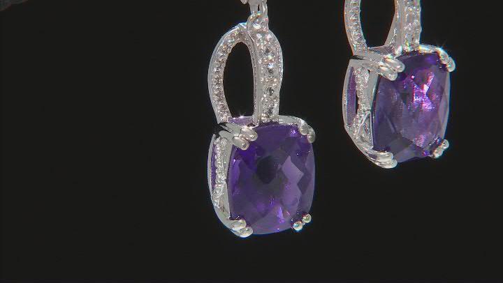 Purple Amethyst Rhodium Over Sterling Silver Earrings 8.50ctw
