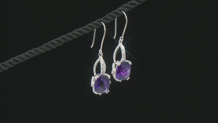 Purple Amethyst Sterling Silver Earrings 8.50ctw.