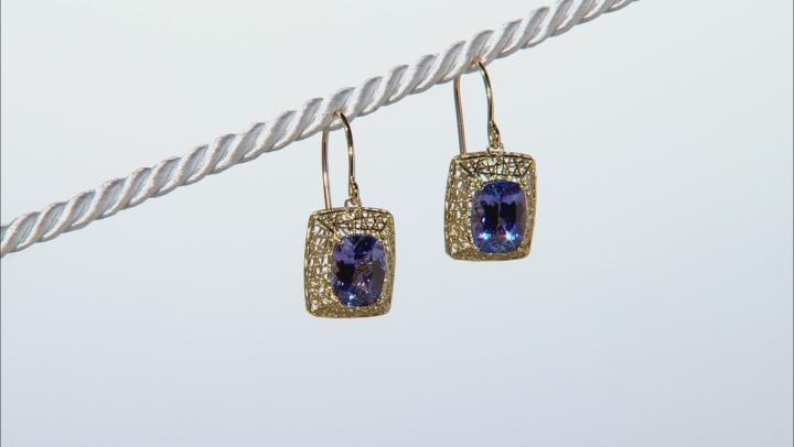 Blue Tanzanite 10k Yellow Gold Earrings 2.60ctw