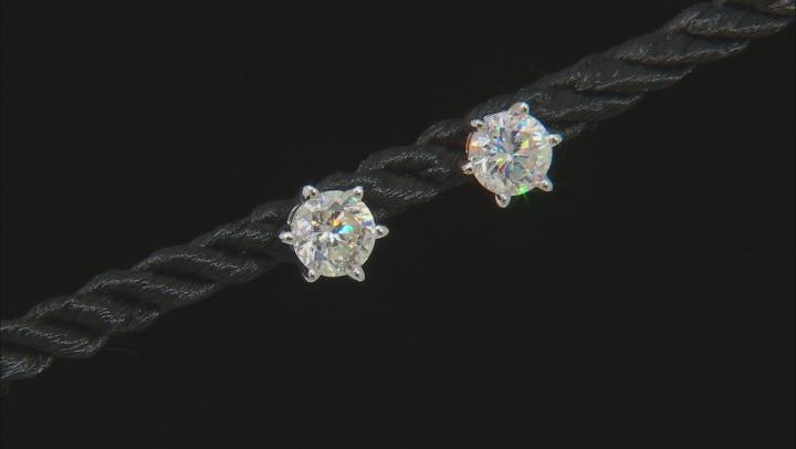 White Fabulite Strontium Titanate 10k White Gold Earrings 2.13ctw
