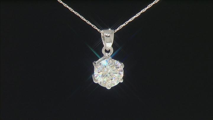 White Fabulite Strontium Titanate 10k White Gold Pendant With Chain 2.47ct